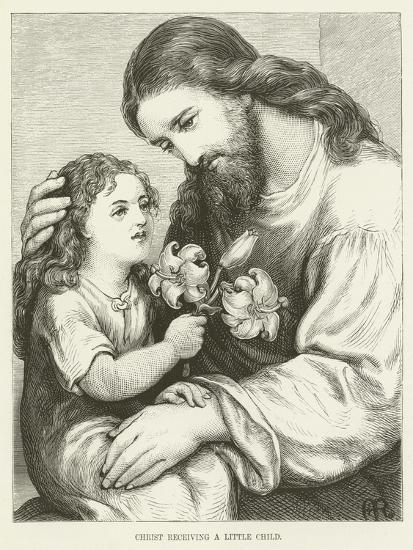 Christ Receiving a Child--Giclee Print