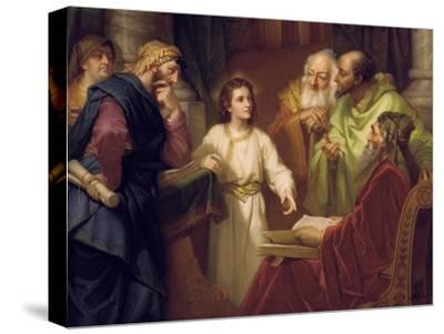 Christ Standing in the Temple Discussing the Scriptures with Five Robed Elders