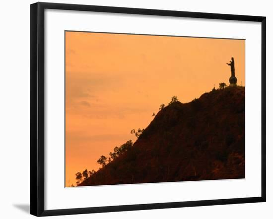 Christ Statue at Dusk, Dili, East Timor-John Banagan-Framed Photographic Print