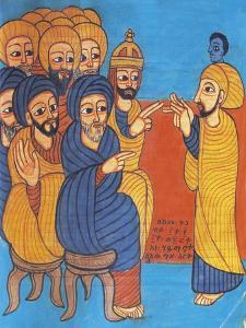 Christ Teaching, Miniature from a Liturgical Parchment Book, Coptic Manuscript, 18th-19th Century