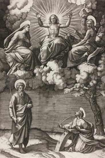 Christ, the Virgin, and Saint John the Baptist with Saints Paul and Catherine, 1520-25-Marcantonio Raimondi-Giclee Print