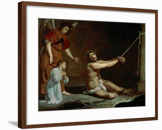 Christ Tied to the Pillory, Contemplated by the Christian Soul, 1626-1628-Diego Velazquez-Framed Giclee Print