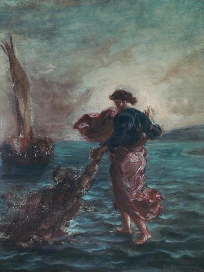 Christ Walking on Water and Reaching Out His Hand to Save Saint Peter-Eugene Delacroix-Giclee Print