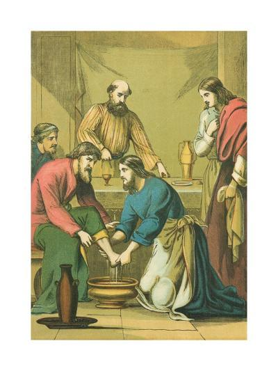 Christ Washing His Disciples' Feet-English School-Giclee Print