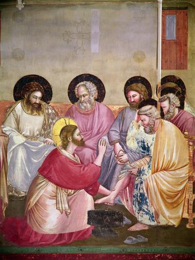 Christ Washing the Disciples' Feet, Detail of Christ and Six Disciples, C.1303-05-Giotto di Bondone-Giclee Print