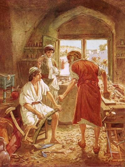 Christ Working with Joseph as a Carpenter-William Brassey Hole-Giclee Print