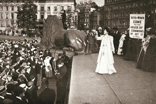 Christabel Pankhurst, British suffragette, addressing a crowd in Trafalgar Square, London, 1908-Unknown-Photographic Print