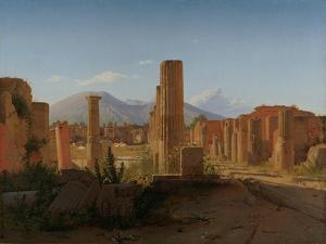 The Forum at Pompeii with Vesuvius in the Background, 1841 by Christen Schiellerup Købke