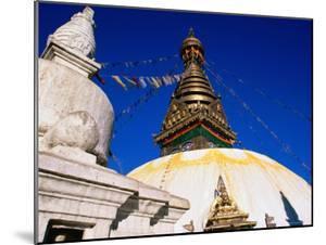Swayambunath Temple with Prayer Flags, Kathmandu, Bagmati, Nepal by Christer Fredriksson