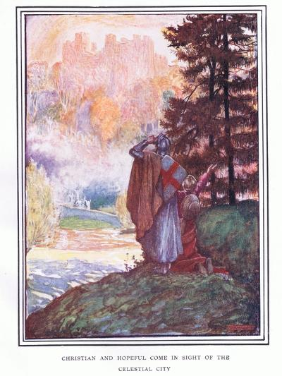 Christian and Hopeful Come in Sight of the Celestial City-John Byam Liston Shaw-Giclee Print