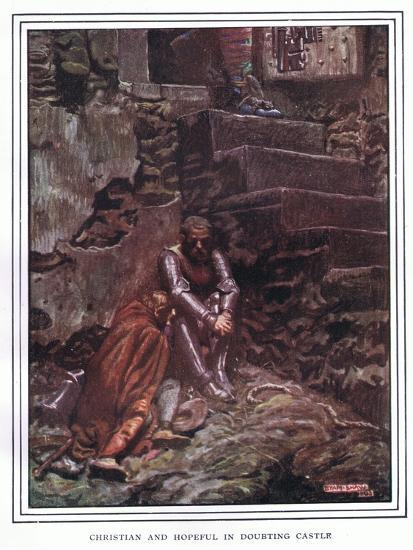 Christian and Hopeful in Doubting Castle-John Byam Liston Shaw-Giclee Print