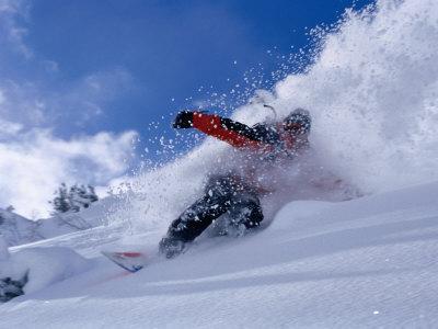Snowboarder Carving Through Powder Snow, St. Anton Am Arlberg, Tirol, Austria