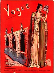 Vogue Cover - October 1937 by Christian Berard