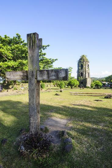 Christian Cross before the Cagsawa Church, Legaspi, Southern Luzon, Philippines-Michael Runkel-Photographic Print