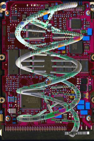 DNA Helix on Circuit Board