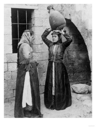 Christian Girls with Water Jug in Nazareth Photograph - Nazareth, Palestine-Lantern Press-Art Print