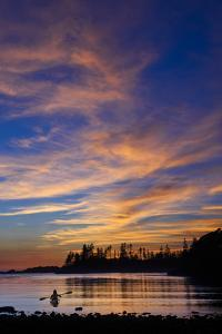 Canada, British Columbia Vancouver Island, Ucluelet, West Coast, Kayak at Sunset by Christian Heeb