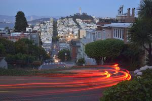 Lights of Passing Cars on Lombard Street, San Francisco, Usa by Christian Heeb