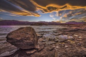 South America, Argentina, Santa Cruz, Patagonia, Sunset at  Lago Posadas by Christian Heeb