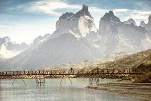South America, Patagonia, Chile, Torres del Paine National Park, los Cuernos at Lago Pehoe by Christian Heeb