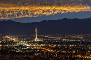 USA, Nevada, Las Vegas, Stratosphere and downtown at night by Christian Heeb