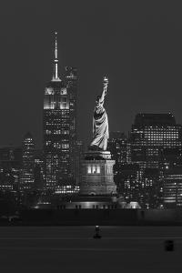 USA, New York, Manhattan, Skyline with Statue of Liberty by Christian Heeb