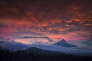 USA, Oregon Central Cascades mountains, Mount Jefferson at sunset by Christian Heeb