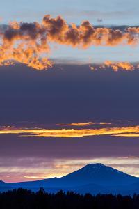 USA, Oregon, Central Oregon, Bend, Mount Bachelor at sunset by Christian Heeb