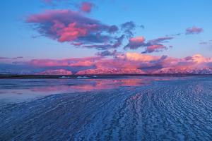 USA, Utah, Antelope Island State Park, Wasatch range and Great Salt Lake in winter by Christian Heeb