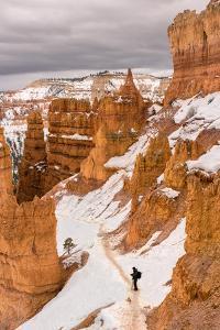 USA,Utah, Man hiking through Bryce Canyon National Park by Christian Heeb