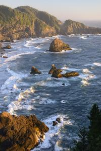 Usa, West Coast, Oregon, State Scenic Corridor, Sunset with Waves Crashing by Christian Heeb