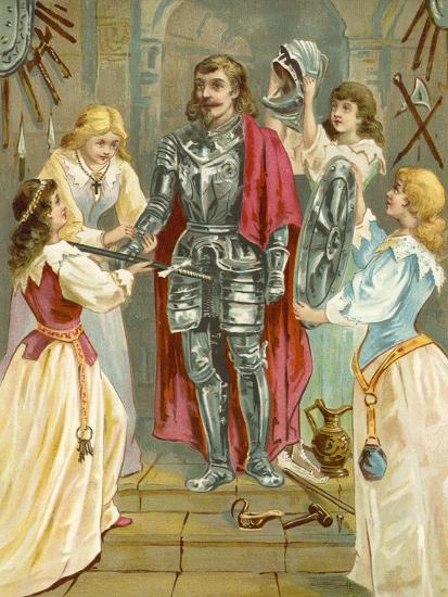 Christian in the Armoury Receiving His Weapons from Discretion, Piety, Charity and Prudence-English School-Giclee Print