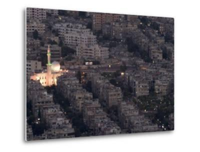 Aerial View of City at Night Including a Floodlit Mosque, Damascus, Syria, Middle East