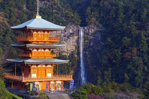 Asia, Japan, Honshu, Wakayama Prefecture, Nachi No Taki Waterfall and Pagoda by Christian Kober