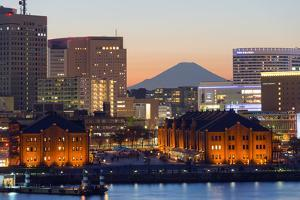 Asia, Japan, Honshu, Yokohama Bay, City Skyline and Mt Fuji by Christian Kober