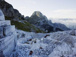 Blocks Being Cut in a Marble Quarry Used By Michaelangelo, Apuan Alps, Tuscany, Italy, Europe by Christian Kober