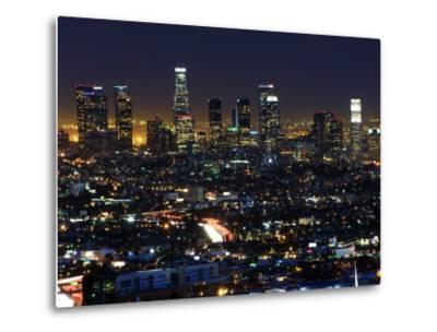 California, Los Angeles, City Lights and Downtown District Skyscrapers, USA