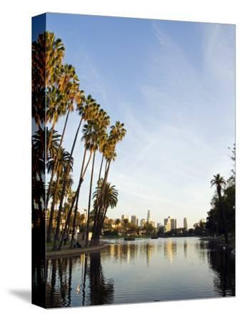 California, Los Angeles, Downtown District Skyscrapers Behind Echo Park Lake, USA