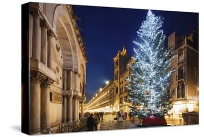 Christmas Tree in St. Marks Square, San Marco, Venice, UNESCO World Heritage Site, Veneto, Italy