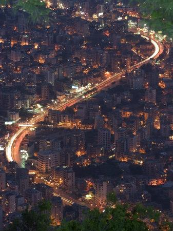 City and Car Lights of Jounieh, Near Beirut, Lebanon, Middle East