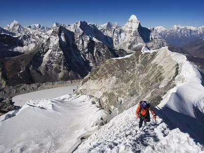 Climber on Summit Ridge of Island Peak, Solu Khumbu Everest Region, Sagarmatha National Park