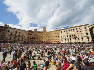 Crowds at El Palio Horse Race Festival, Piazza Del Campo, Siena, Tuscany, Italy, Europe by Christian Kober