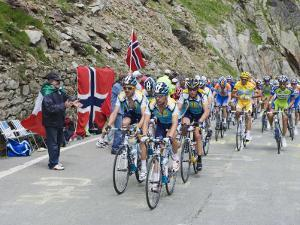 Cyclists Including Lance Armstrong and Yellow Jersey Alberto Contador in the Tour De France 2009 by Christian Kober