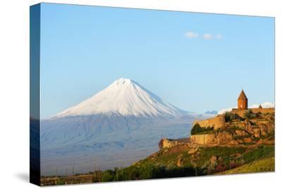 Eurasia, Caucasus Region, Armenia, Khor Virap Monastery; Lesser Ararat Near Mount Ararat in Turkey.
