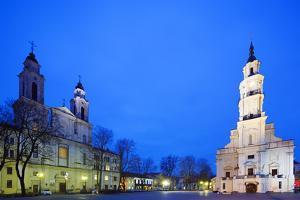 Europe, Baltic States, Lithuania, Kaunas, Church of St. Francis Xavier and Town Hall of Kaunas by Christian Kober