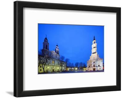 Europe, Baltic States, Lithuania, Kaunas, Church of St. Francis Xavier and Town Hall of Kaunas
