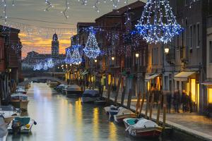 Europe, Italy, Veneto, Venice, Murano, Christmas Decoration on a Canal by Christian Kober