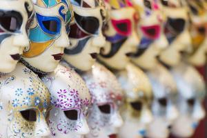Europe, Italy, Veneto, Venice, Souvenir Venetian Carnival Masks by Christian Kober