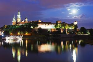 Europe, Poland, Malopolska, Krakow, Full Moon over Wawel Hill Castle and Cathedral by Christian Kober