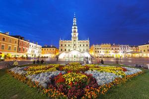 Europe, Poland, Zamosc, Rynek Wielki, Old Town Square, Town Hall, Unesco by Christian Kober